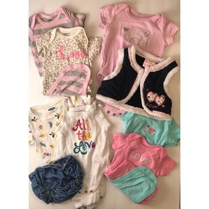 Lot of 9 Girl's 3-6M Mixed Brands
